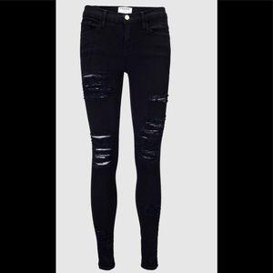 Black Frame Shredded Jeans